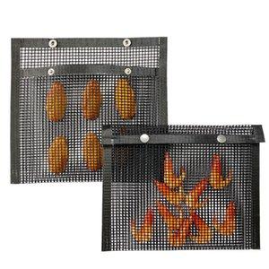 غير عصا شبكة شبكة حقيبة قابلة لإعادة الاستخدام BBQ خبز حقيبة مقاومة درجات الحرارة العالية من السهل نظيفة في الهواء الطلق BBQ نزهة أداة IIA40