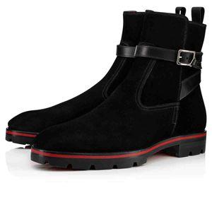 Hombre de la moda de lujo zapatos rojos Botas inferior para botines de tacón bajo las botas del tobillo de los hombres Zapatos Kicko Estilo Negro Suede Piel elegante de los hombres de