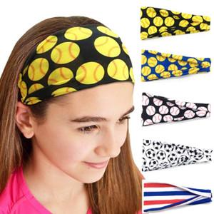 Der heiße Verkauf Softball Sport Sweat-Kugel-Stirnband-Mädchen Yoga Fitness Frauen Haarschmuck Drucke Bandanas Weit Laufen Baseball Hairba