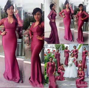 2020 Plus Size South African sereia Bridesmaids Vestidos Lace mangas compridas longo Maid Formal de honra do banquete de casamento dos visitantes Vestido BC2688
