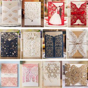 1 STÜCKE Probe Blank Floral Laser Cut Hochzeitseinladungen mit Umschlag und Siegel für Bridal Shower Baby Shower Geburtstag Graduation