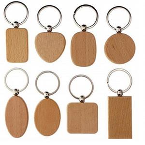 빈 라운드 사각형 심장 나무 키 체인 DIY 맞춤형 목재 열쇠 고리 키 태그 선물 액세서리 도매