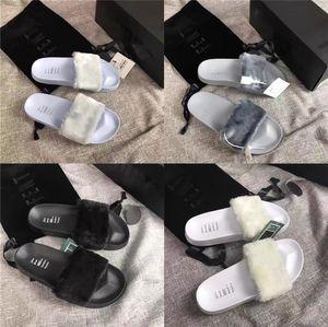 Scarpe Estate Appartamenti dolci Fur Slides reale della pelliccia di Fox pantofole misto del partito di colore di marca di lusso scarpe da spiaggia donna Drop Shipping # 146
