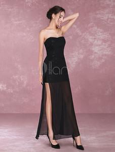 Cheap Prom Dresses alta Vestido com Racha Sexy Preto Sequins Vestidos longos sexy Chiffon vestidos de festa Vestidos Atacado