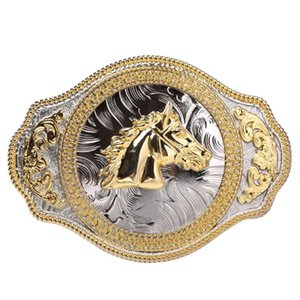 Gravado Vintage Golden Horse Belt Buckle ocidental Cowboy Mens Motocicletas Jeans Acessórios