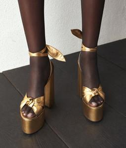 Sexy peep toe bowknot dicken absätzen sandale schnüren plattform high heel schuhe frau sommer gold leder kleid heels keile