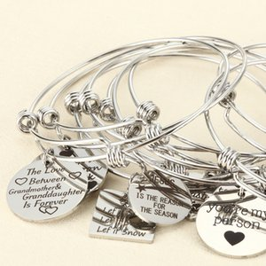 10pcs Random Charms Bracelet with Plate Heart Adjustable Extendable Bangle Hand imprint Positive Inspirational Quote Cuff Bangle