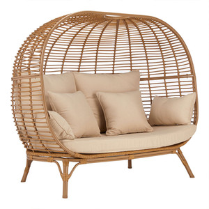 estrutura de lazer espreguiçadeira metal com vime Pátio Sunbed, ao ar livre sofá-cama para beira da piscina, varanda, indoor, outdoor usado