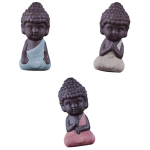 3adet Little Buddha Monk Çay Evi Minyatür Figurine Seramik Heykeli Set