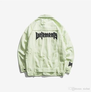 Le plus récent mens vestes en denim Ripped bonbons couleur manteau Styliste Lettre Broderie Hip Pop Streetwear Oversize lambrissé Jeans BP outwear