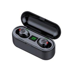 Toque estilo estilo Botão Wireless Display fone de ouvido Bluetooth V5.0 F9 TWS LED Headphone Com Auriculares 2000mAh Power Bank com microfone