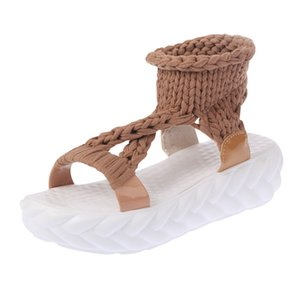 Chunky Heels Knitting Summer Shoes Platform Comfortable Sandals for Women Big Size Shoes Woman Platform Sandalen Dames Zwart