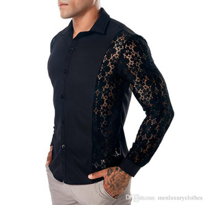 Camisas de encaje verano ocasional de la camisa gira el collar abajo Manga larga Tops Camisetas para hombre primavera 19SS