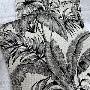 Wholesale special offer Free shipping Beige non woven base with black velvet 3D effect palm tree flock Wallpaper