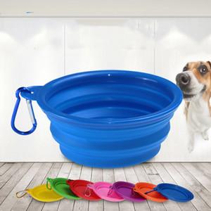 مستلزمات الحيوانات الأليفة 350ML الحيوانات الأليفة سيليكون قابلة للطي وعاء قابل للسحب أدوات المائدة صحن الكلب في الهواء الطلق المحمولة الشرب طبق T3I5617 عاء قفل