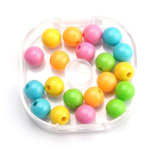 Großhandelsmassen lose Nachahmungen von Perlen 12mm große Acrylplastik-runde Korn-Mischung färbt Opaque Miracle Kugel-Korne für Beadable Produkte