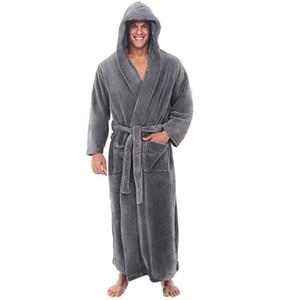 Зимнее Халат Мужчины Плюс Размер Плюшевые шаль Главная удлиненный Одежда с длинными рукавами Robe пальто мужские с капюшоном банный халат Альборнос Hombre