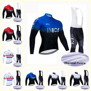 squadra INEOS velluto Cycling Jersey Plus per mantenere caldo Pantaloni Bike Abbigliamento Salopette Set bicicletta copre Ropa Ciclismo Sport Suit B618-54