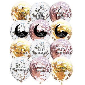 12 بوصة جولة عيد مبارك احباط بالونات شفافة رمضان عيد مبارك طبع اللوازم ستار القمر بالونات عيد الفطر