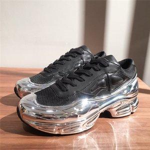 Mens Sneaekers Raf Simons oversize Sneaker, scarpe Ozweego in argento metallizzato effetto dip Sole Sport Trainer Multicolore Taglia con la scatola