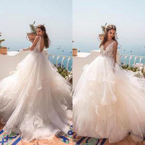 Jupe à volants été robes de mariée de plage 2019 robe de bal v cou sexy dentelle dos ouvert dentelle robes de mariée robe de mariée de maternité BC0512