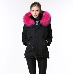 Elegant Black Warm Thick Fur Jacket winter Women Rose red raccoon fur Collar Short parka