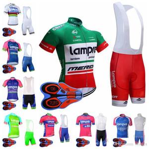 equipe LAMPRE ciclismo manga curta camisola bib homens calções conjuntos 9D almofada de gel secagem rápida respirável jersey esportes ao ar livre define S8245