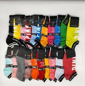 Розовый Письмо Tag Носки Взрослые Розовый хлопок короткие носки Мода Спорт Баскетбол Футбол Судовые Носки для девочек тинейджеров Болельщица голеностопного BC7117