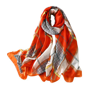 Bufanda de seda suave para mujer 180 * 90 cm Moda estampada Bufandas de satén largas Oficina Damas Pañuelo Playa al aire libre Chal TTA1672