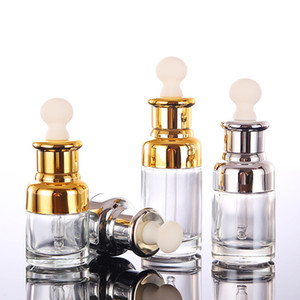 Clear Glass Essential Oil Perfume Bottles Liquid Reagent Pipette Bottles Eye Dropper Aromatherapy Plated Gold Silver Cap 20-30-50ml Wholesal