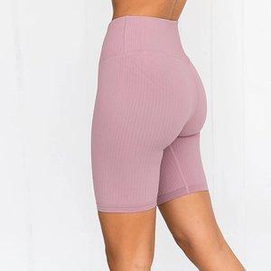 Femmes sans couture Yoga Shorts taille haute 45cm Couleurs solides élastiques Striped Grain de remise en forme court pantalon d'été Gym cinquième Legging
