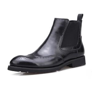Fashion2019 Help High 93618 Mit Baumwolle gepolsterte Schuhe Herren Rindsleder Erhöhen Daunen Warmhalten Baumwolle Bring Martin Boots Male