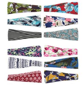 60 styles Sports Flower Hairband Sweat Headbands For Yoga Fitness Scarf Sport Headwrap Bandana Women Turban Hair Bands