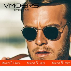 VMOERS Retro Small Round Sunglasses Men Vintage Brand Shades Male Black Metal Sun Glasses For Men 2018 Fashion Designer Lunette