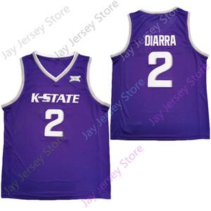 2020 Yeni NCAA Kansas Eyalet Wildcats Formalar 2 Diarra Koleji Basketbol Jersey Mor Boyut Gençlik Yetişkin