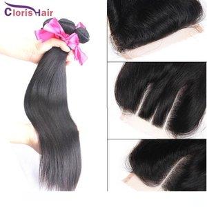 Não transformados Hetero peruanas Virgens Humanos Tece cabelo 3 pacotes com Lace Encerramento baratos Milky Way tramas Silk Top Encerramento Pacotes