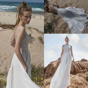 2019 Limor Rosen A Vestidos Linha Open Back casamento Halter com chiffon listrado saia sobre Nude Forro vestidos de noiva BC0463