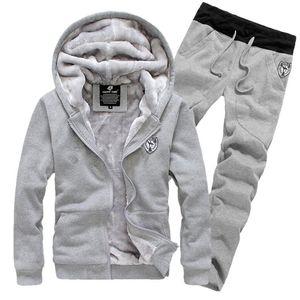 dos homens Treino Sporting lã grossa com capuz Casual Faixa Suit Jacket Men + quentes Pant Sets Fur Dentro de Inverno