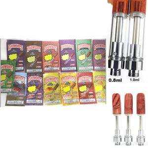 Keramik Vapes Cartridges DabWoods Carts 1ml 0,8 ml Holzmundstück Drip Tip-Beutel Verpackung Leere Pen Vaporizer dickes Öl e CIGS Atomizer