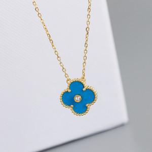 Noël collier concepteur cloverleaf or 18K bleu collier pendentif boucle originale chaîne cloverleaf originale Livraison gratuite