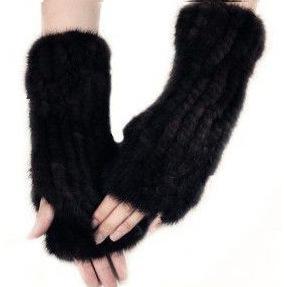 bilek Bracers ile yeni vizon yünlü eldiven Kore versiyonu kadın eldivenleri yarım parmak orta uzunlukta deri