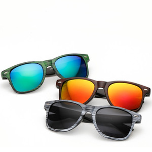 Kühle Reisende Sonnenbrille Holzmaserung Druckrahmen Bunte Spiegel Sonnenbrille Für Frauen Und Männer Kunststoff Brillen 7 Farben Großhandel