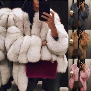 Artı Boyut Kadın Kürk Kış Sıcak Peluş Coat Lüks Yumuşak Kürk Ceket