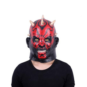 2019 Latex Star for Wars Movie Darth Maul Mask Full Head Scary Horror Halloween Head Mask For Costume Cosplay Party Ball Fancy Dress