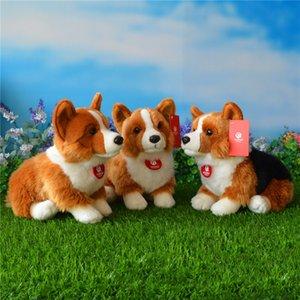 Perro de perrito del envío libre de los 25CM Welsh Corgi Pembroke felpa juguetes de peluche de juguete de simulación Corgis muñecas de la felpa los regalos para los niños T200619