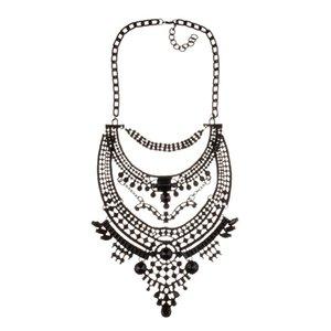 Mode-européens et américains gros bijoux nouvelle galvanoplastie exagérée électrophorèse cour de pierres précieuses incrustées alliage noir rétro exagérée