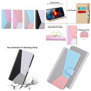 Hit Contraste de color híbrido Cartera de cuero del caso para Samsung S20 Ultra A01 A21 A51 A71 5G 5G A81 A91 A70E ID Ranura para tarjeta de soporte para teléfono cubierta del tirón