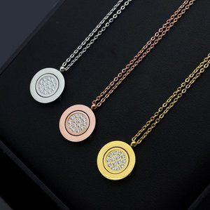 Rotatable round card full diamond necklace women's black round card turnover Necklace