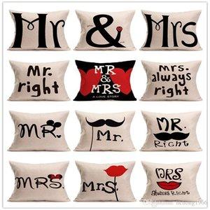 Новая любовь мистер миссис красные губы сердечный узор лен хлопок белье бросить подушки наволочка диван наволочка высокое качество 4 5nt