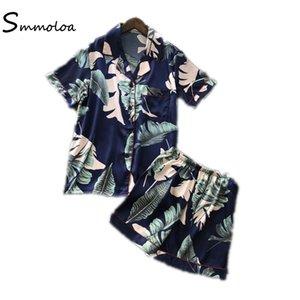 Smmoloa Sommer Frauen Silk Stain Pyjamas Elegante Sexy Nachtwäsche Pyjamas Kurzarm Pijama J190704 J190705